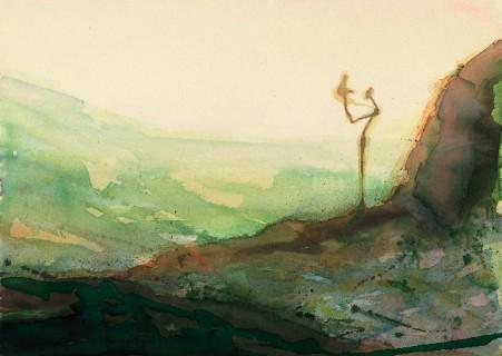 Applaudisserende figuur in een landschap