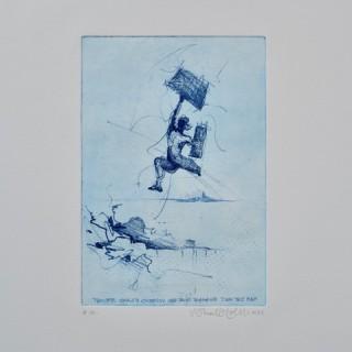 Man die met bagage naar een volgend eiland springt